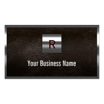Steel & Dark Wood Monogram Business Card