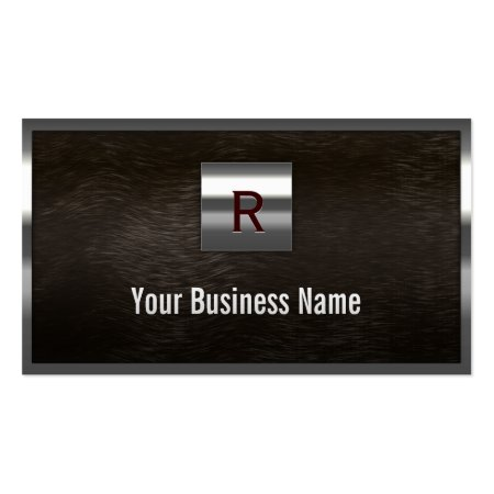 Steel and Dark Wood Monogram Construction Business Cards Template