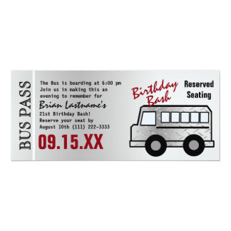 Steel Design 21st Birthday Party Bus Pass Card