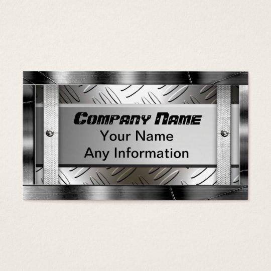 Steel Diamond Pattern Metal Look Business Card