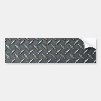 Steel diamond plate car bumper sticker