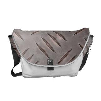 Steel Diamond Plate Texture Messenger Bag