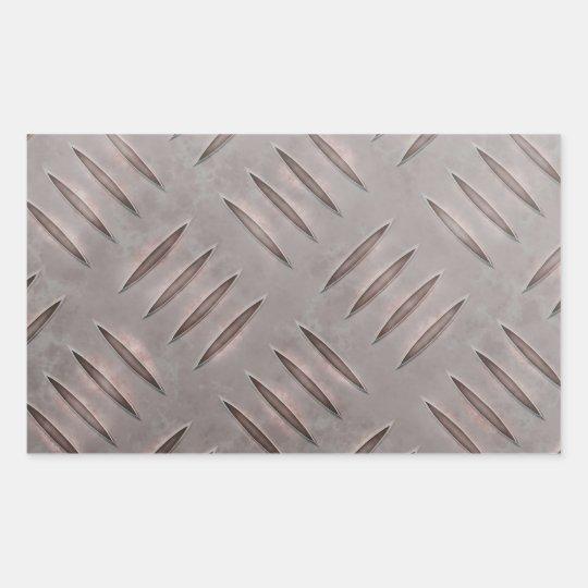 Steel Diamond Plate Texture Rectangular Sticker