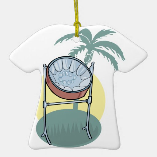 steel drum and palm tree design Double-Sided T-Shirt ceramic christmas ornament