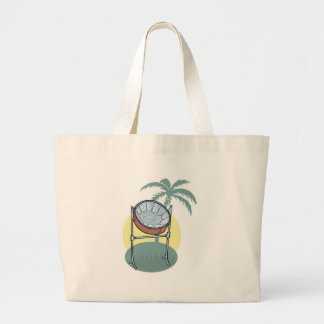 steel drum and palm tree design large tote bag