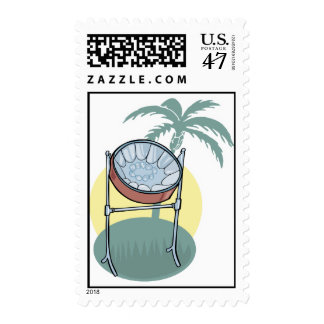 steel drum and palm tree design postage
