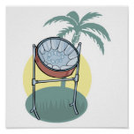 steel drum and palm tree design poster
