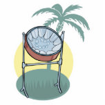 steel drum and palm tree design statuette