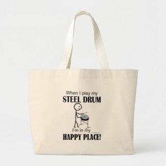 Steel Drum Happy Place Large Tote Bag
