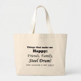 Steel Drum Makes Me Happy Large Tote Bag
