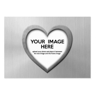 Steel Effect Heart (Personalize Before Purchase) Business Cards