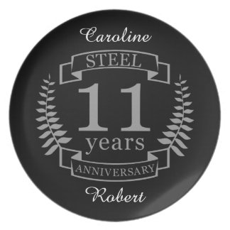 Steel Eleventh wedding anniversary 11 years Plate