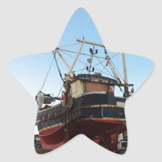 Steel Fishing Boat At Hastings Star Sticker
