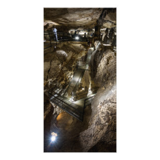 Steel footbridge built inside of an ancient mine card