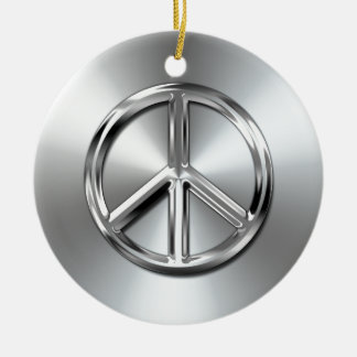 Steel Gradient Graphic Peace Symbol Ceramic Ornament