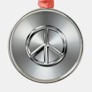 Steel Gradient Graphic Peace Symbol Metal Ornament