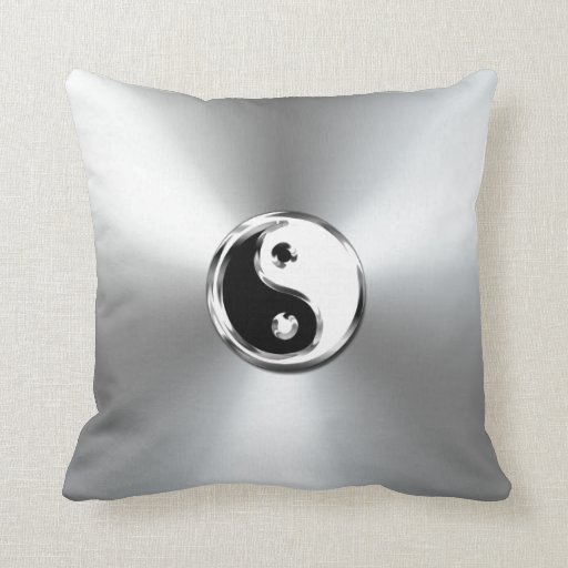 Steel Gradient Graphic Yin-Yang Symbol Throw Pillow