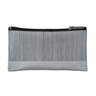 Steel Gray Bamboo Border Wood Grain Look Cosmetic Bag