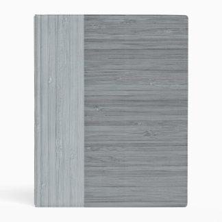 Steel Gray Bamboo Border Wood Grain Look Mini Binder