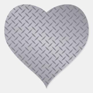 Steel Gray Diamond Plate Heart Sticker