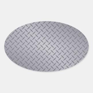 Steel Gray Diamond Plate Oval Sticker