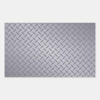 Steel Gray Diamond Plate Rectangular Sticker