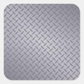 Steel Gray Diamond Plate Square Sticker