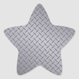 Steel Gray Diamond Plate Star Sticker