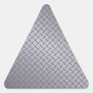 Steel Gray Diamond Plate Triangle Sticker