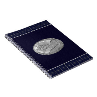 Steel Gray Metallic Dragon Medallion Notebook