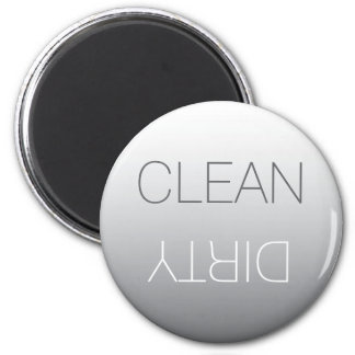 Steel Gray Round Clean or Dirty Dishwasher Magnet