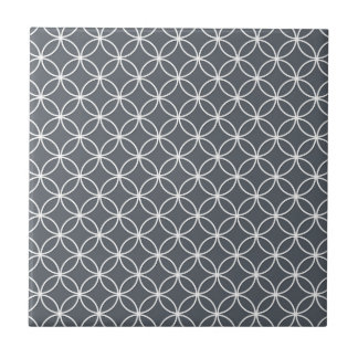 Steel Grey and White Circles Pattern Ceramic Tile