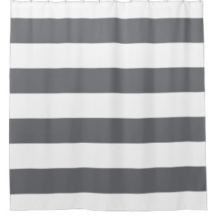 Steel Grey And White Striped Shower Curtain