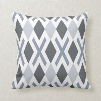 Steel Grey Diamonds and Crosses Throw Pillow