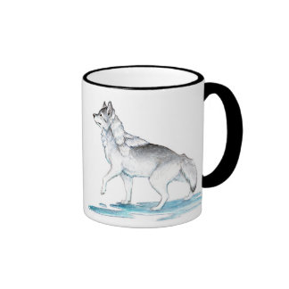 Steel Grey Ice Creation Wolf Ringer Coffee Mug