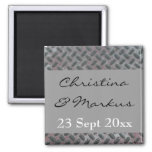 Steel Grid Plate Metal Pattern Manly Wedding Magnets