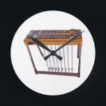 """Steel Guitar Round Clock<br><div class=""""desc"""">Rock on the wild side! Stitch this cool steel guitar design on shirts,  bags,  and more for your rock stars.</div>"""
