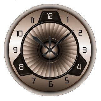 Steel Jet Engine Aviation Large Round Wall Clocks