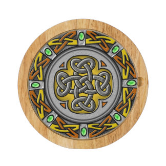 Steel, leather and gems digital image celtic knot cheese platter