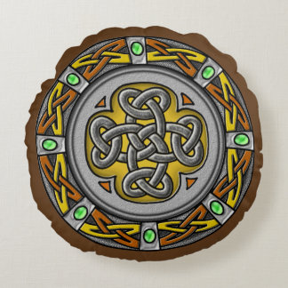 Steel, leather and gems digital image celtic knot round pillow