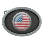 Steel Mesh American Flag Disc Graphic Oval Belt Buckle