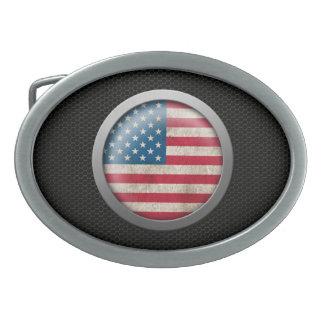 Steel Mesh American Flag Disc Graphic Belt Buckle
