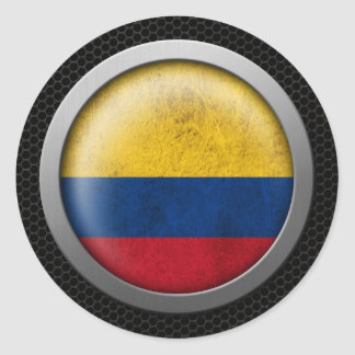 Steel Mesh Colombian Flag Disc Graphic Classic Round Sticker