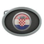 Steel Mesh Croatian Flag Disc Graphic Oval Belt Buckle