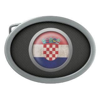 Steel Mesh Croatian Flag Disc Graphic Belt Buckle