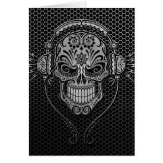 Steel Mesh DJ Sugar Skull Greeting Card