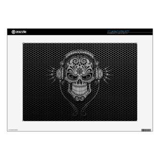 Steel Mesh DJ Sugar Skull Decals For Laptops