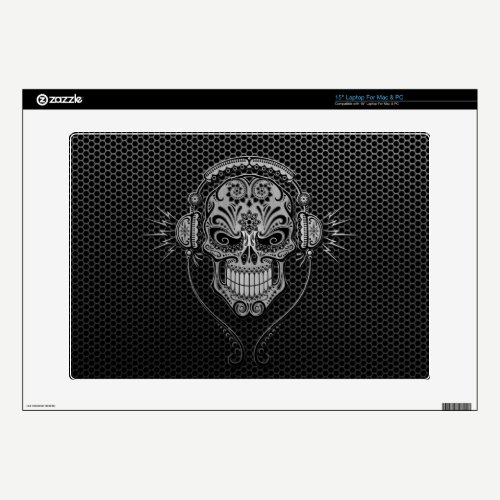 Steel Mesh DJ Sugar Skull Decals For Laptops