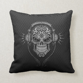 Steel Mesh DJ Sugar Skull Throw Pillow