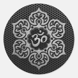 Steel Mesh Floral Om Classic Round Sticker